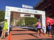Sarah Glenn of Roanoke, VA, women's winner of the half marathon